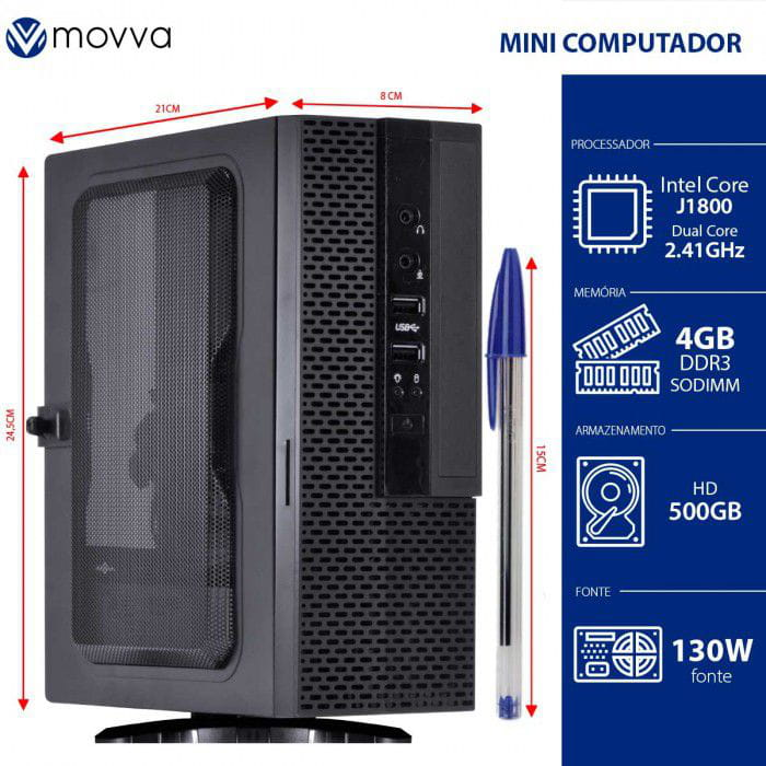 Mini PC Lite MOVVA Intel Dual Core J1800 2.41Ghz Memoria 4GB HD 500GB HDMI/VGA Fonte 130W Linux - MVMLIJ18005004