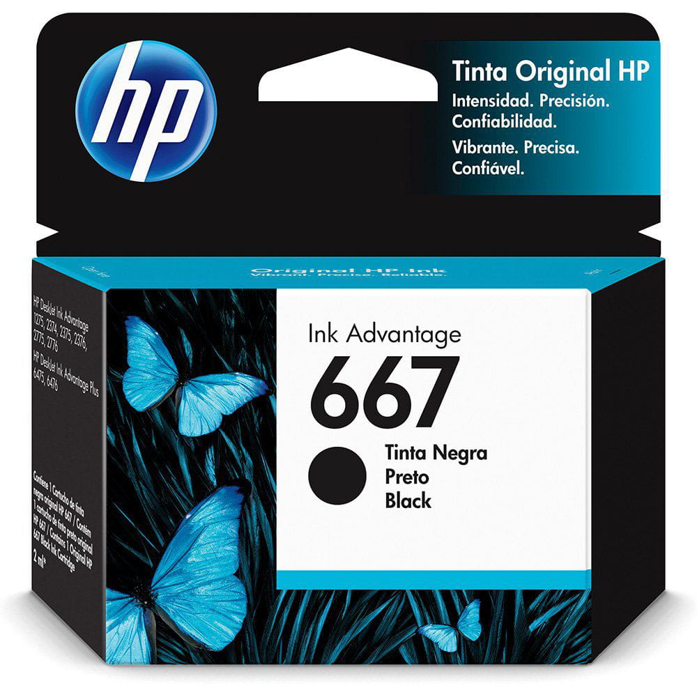 Cartucho HP 667 Preto 3YM79AL 2ml