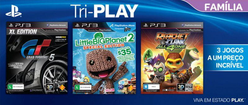 Jogo Tri-Play Família Ps3 Sony Gran Turismo 5 XL - LittleBigPlanet 2 - Ratchet & Clank: All 4 One