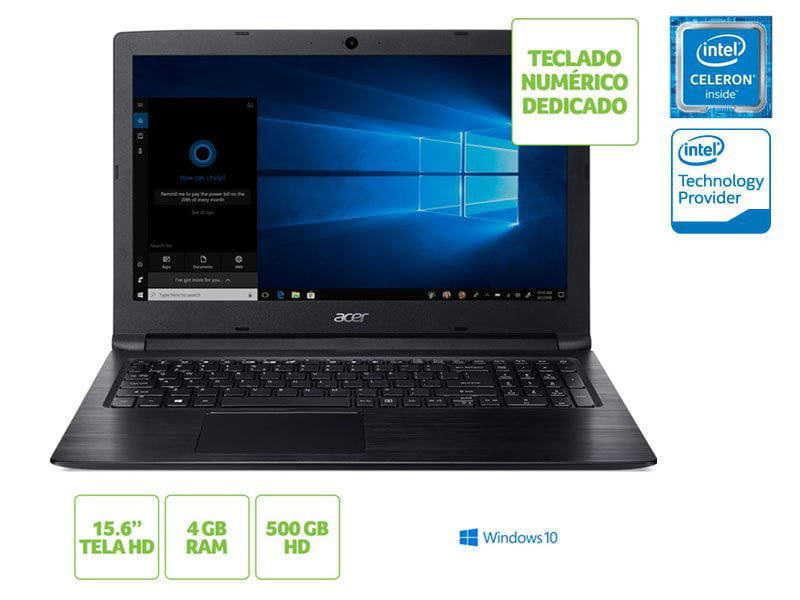 Notebook Acer A315-33-C39F Dual Core N3060 4GB 500GB win10 15.6