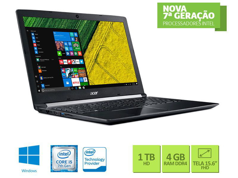 Notebook Intel Acer i5-7200U 4GB 1TB Win10 15.6 - NXGQBAL002 A515-51-52CT