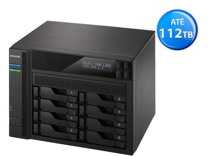 Storage NAS Asustor - AS6208T intel quad core j3160 1,6ghz 4gb ddr3 torre 8 baias hot-swap