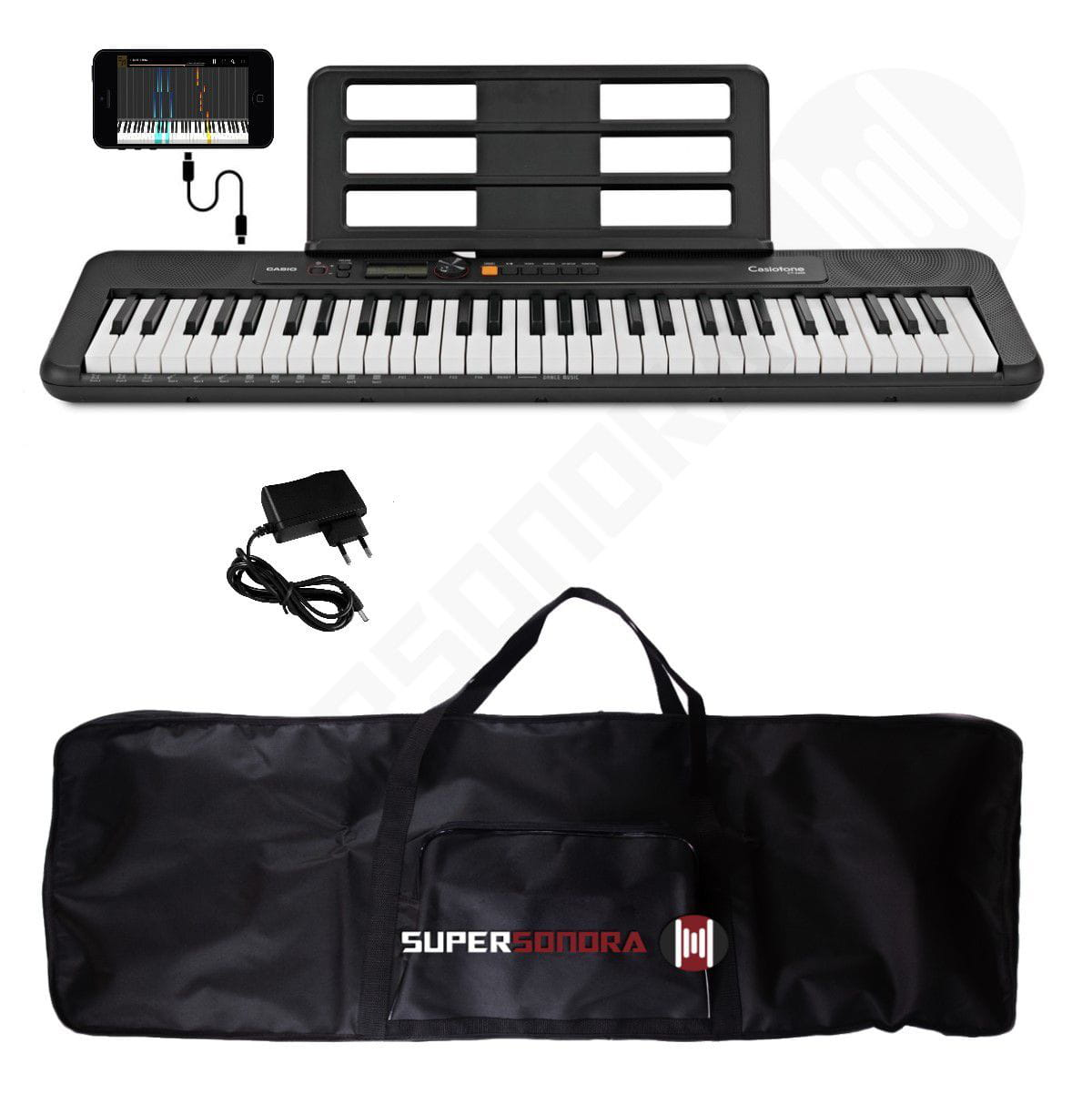 Kit Teclado Musical CASIOTONE CT S200 CASIO Preto Aplicativo Chordana Play + Capa