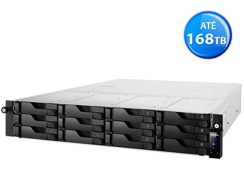 Storage NAS Asustor - AS6212RD intel quad core j3160 1,6ghz 4gb ddr3 rack 2u 12 baias hot-swap *fonte redundante*