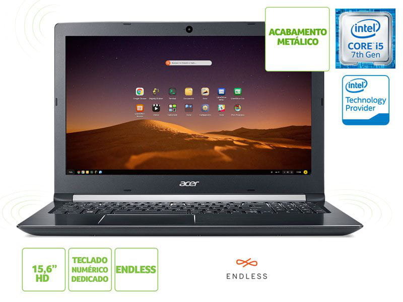 Notebook Acer A515-51-52M7 i5 7200u 4GB 1TB Linux 15.6