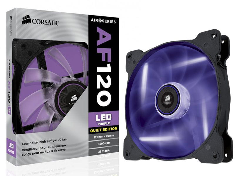 Cooler para gabinete corsair co-9050015-pled af120 120mm  quiet edition com led roxo