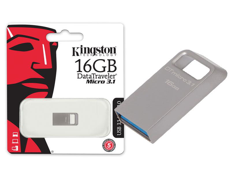 Pen drive usb 3.0 kingston dtmc3/16gb datatraveler micro 3.1 16gb prata metal