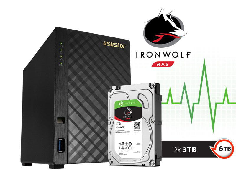 Storage NAS Asustor 6TB com HD  Seagate Ironwolf AS1002T6000 v2 marvell dual core 1,6 ghz 512mb ddr3 torre 6tb