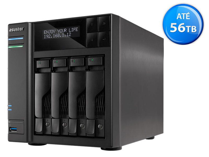 Storage NAS Asustor - AS6404T intel dual core j3455 1,5ghz 8gb ddr3 torre 4 baias hot-swap