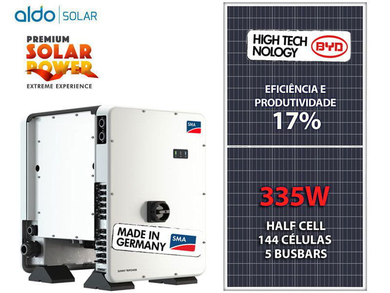 Gerador De Energia Solar Sma Metalica Trapezoidal K2 Systems Sma Gef 68,34kwp Byd Poli Half Cell Core1 50kw 6mppt Trif 380v