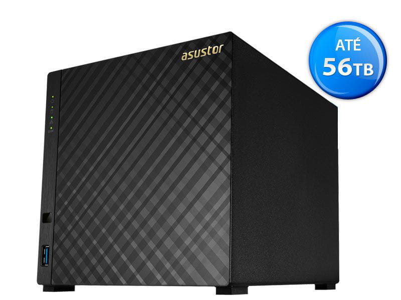 Storage NAS Asustor - AS3104T intel dual core 1,6ghz 2gb ddr3 torre 4 baias