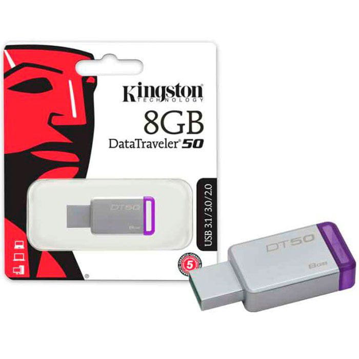 Pen Drive 8GB Kingston Datatraveler 50 Metal Roxo USB3.1 - DT50/8GB