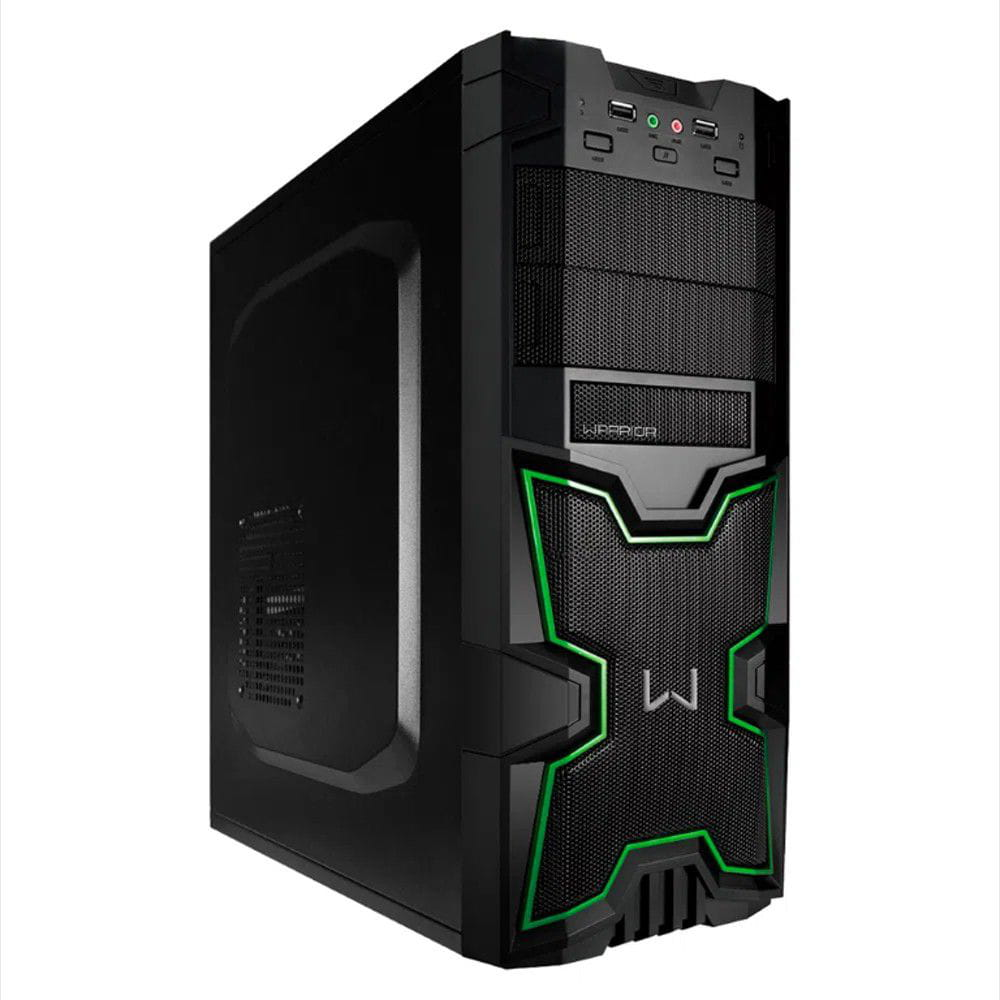 Gabinete Multilaser Warrior Gamer Preto/Verde - GA154