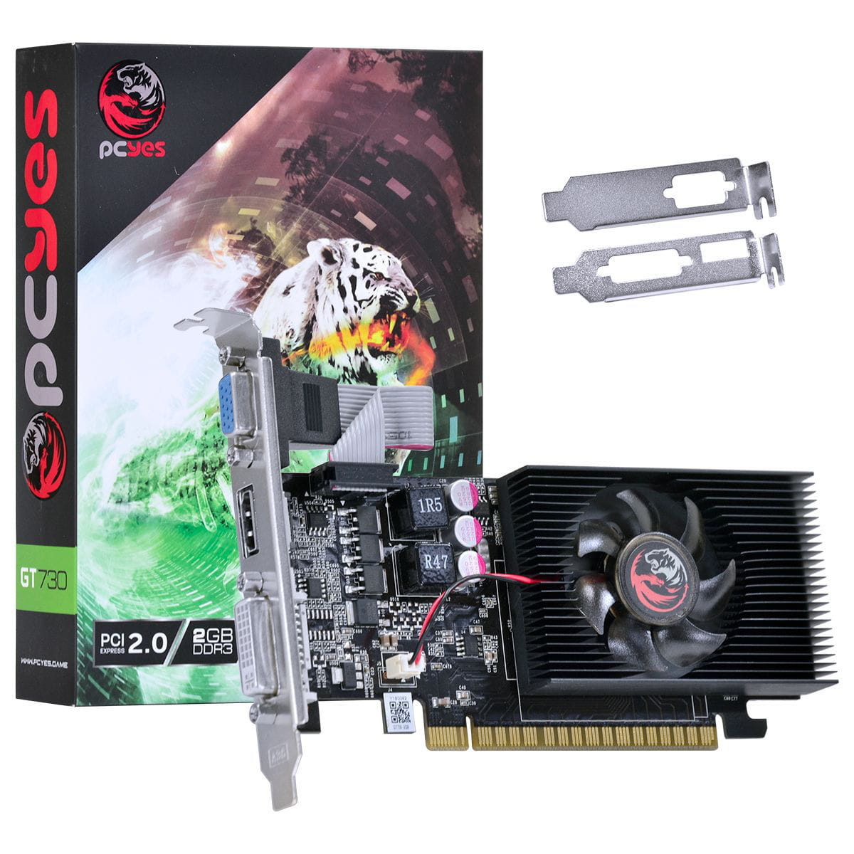 Placa de Video PCYES Nvidia GT730 2GB GDDR3 128bits  Low Profile - PW730GT12802D3LP