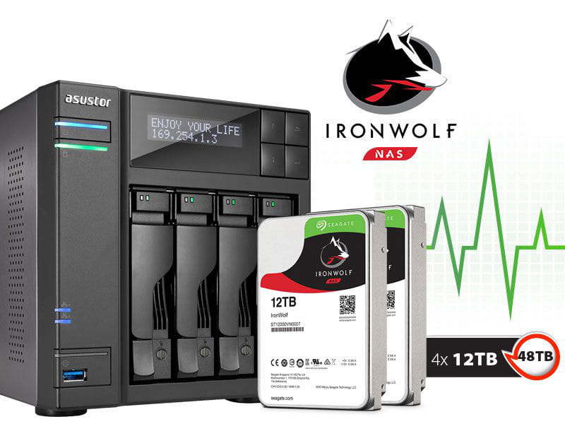Storage NAS Asustor 48TB com HD  Seagate Ironwolf - AS6204T48000 intel quad core j3160 1,6ghz 4gb ddr3 torre 48tb