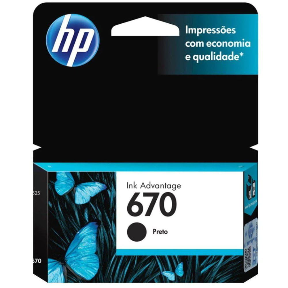 CARTUCHO DE TINTA INK ADVANTAGE HP SUPRIMENTOS CZ113AB HP 670 PRETO 7,5 ML
