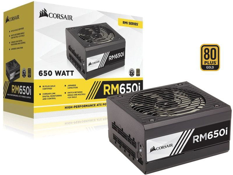 Fonte 80plus gold corsair cp-9020081-ww rmi 650w digital pfc ativo bivolt modular