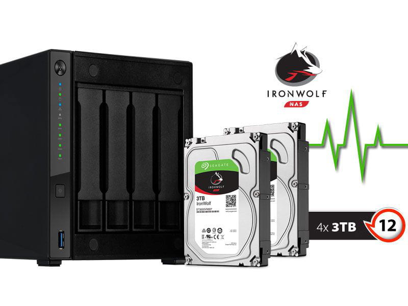 Storage NAS Asustor AS4004T12000  marvell 1,6ghz 2gb ddr4 torre 12tb  hot-swap