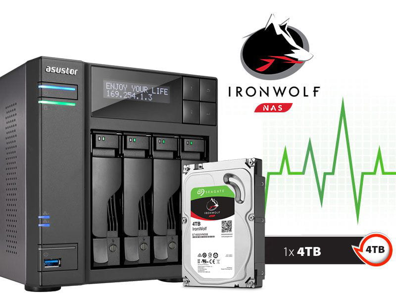 Storage NAS Asustor 4TB com HD  Seagate Ironwolf - AS6204T4000 intel quad core j3160 1,6ghz 4gb ddr3 torre 4tb