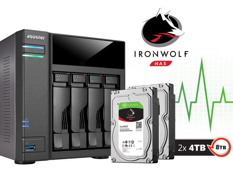 Storage NAS Asustor 8TB com HD  Seagate Ironwolf - AS6104T8000 intel dual core 1,6ghz 2gb ddr3 torre 08 teras