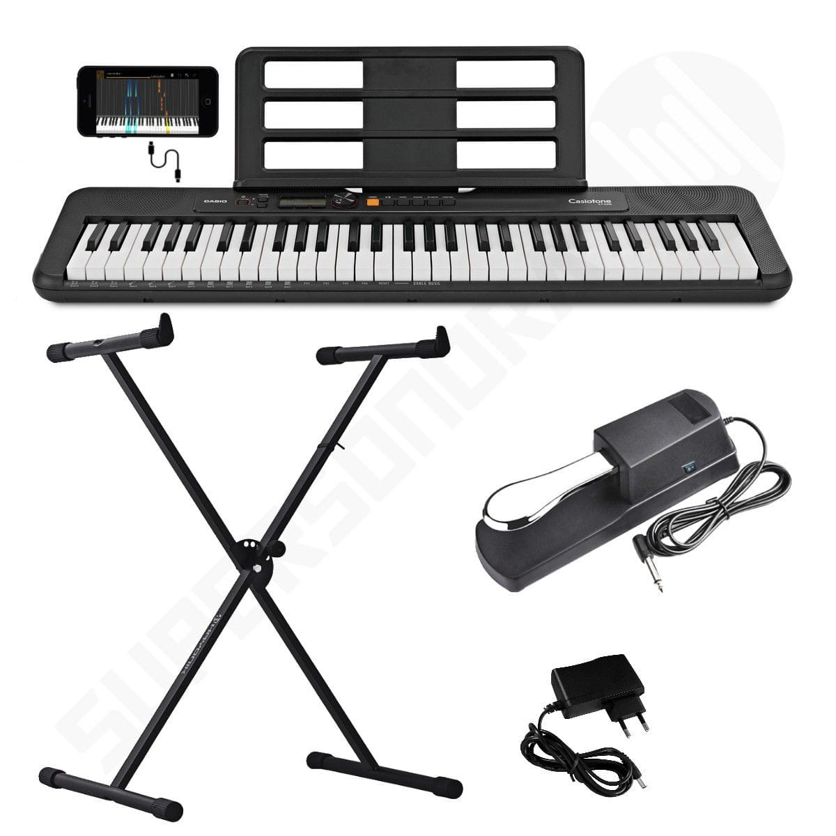 Kit Teclado Musical CASIOTONE CT S200 CASIO Preto Aplicativo Chordana Play + Suporte X + Pedal Sustain