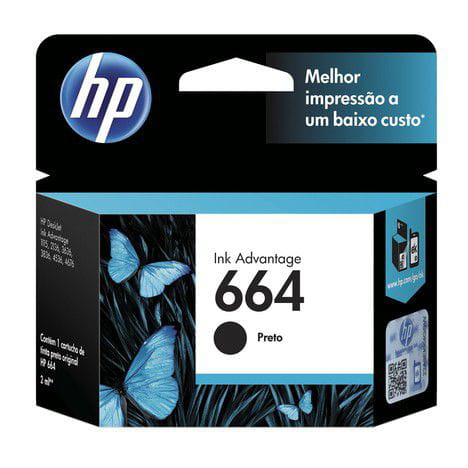 Cartucho hp 664 preto 2ml - f6v29ab