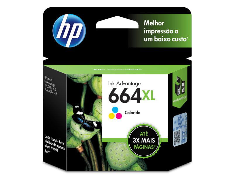 Cartucho HP664XL Tricolor 8ml - F6V30AB