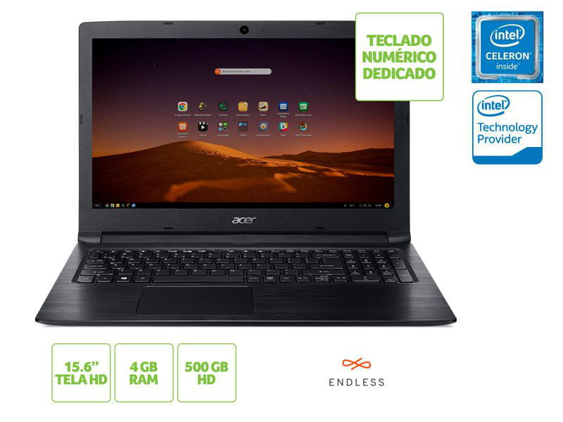 Notebook Acer A315-33-C58D Dual Core N3060 4GB 500GB Linux 15.6