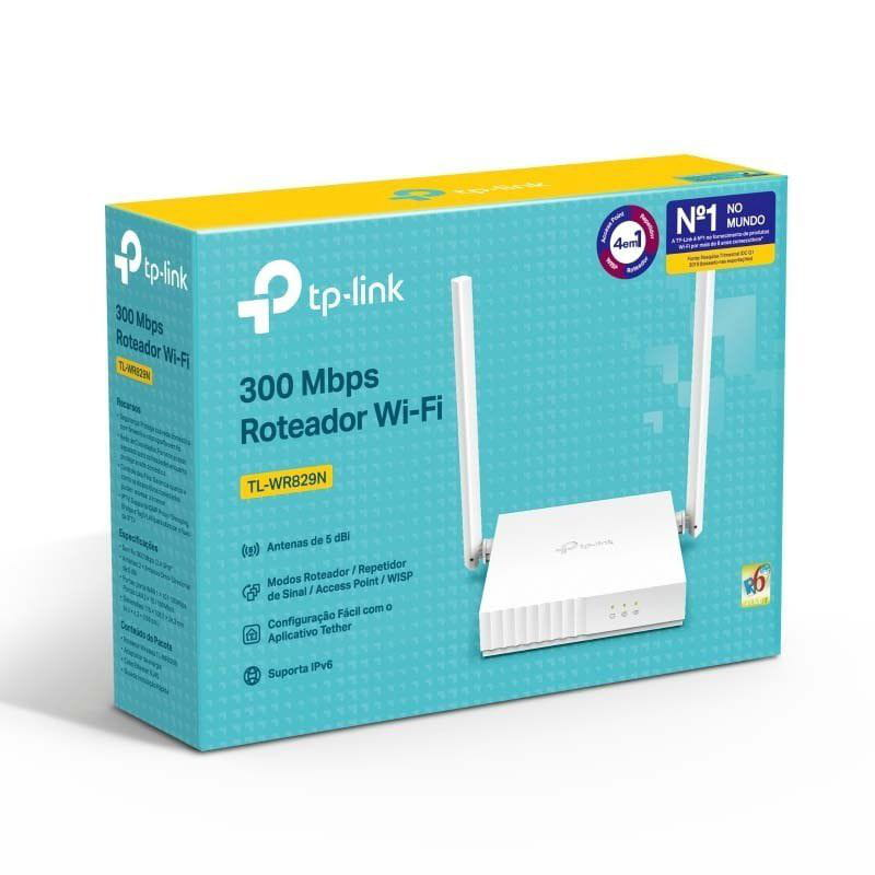 ROTEADOR WIRELESS TP-LINK TL-WR829N 300MBPS 2 ANTENAS