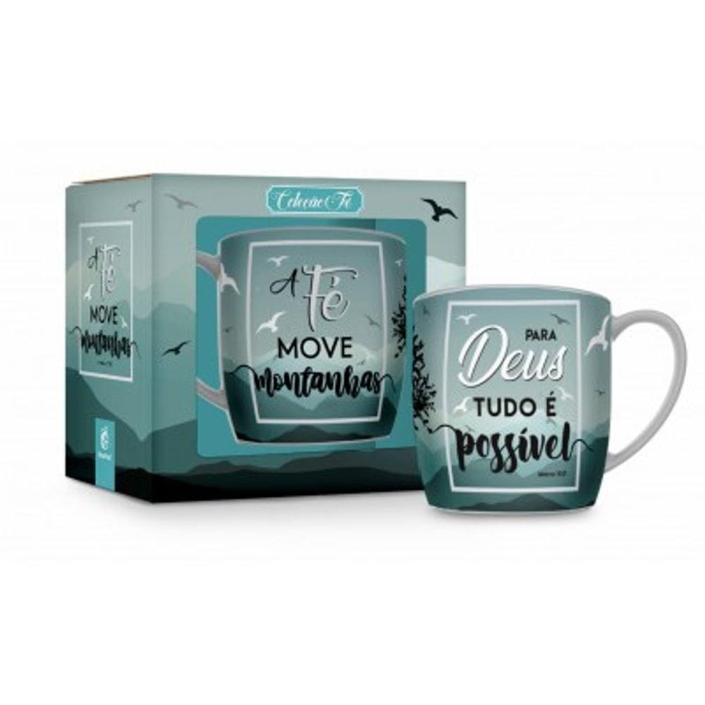 Caneca Porcelana Urban 360Ml - Fe Move Montanhas