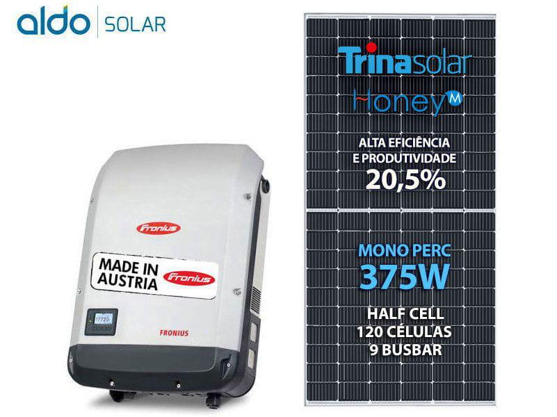 Gerador De Energia Solar Fronius Sem Estrutura Fronius Gf 4,5kwp Trina Mono Perc Half Cell 375w Primo 4kw 2mppt Mono 220v