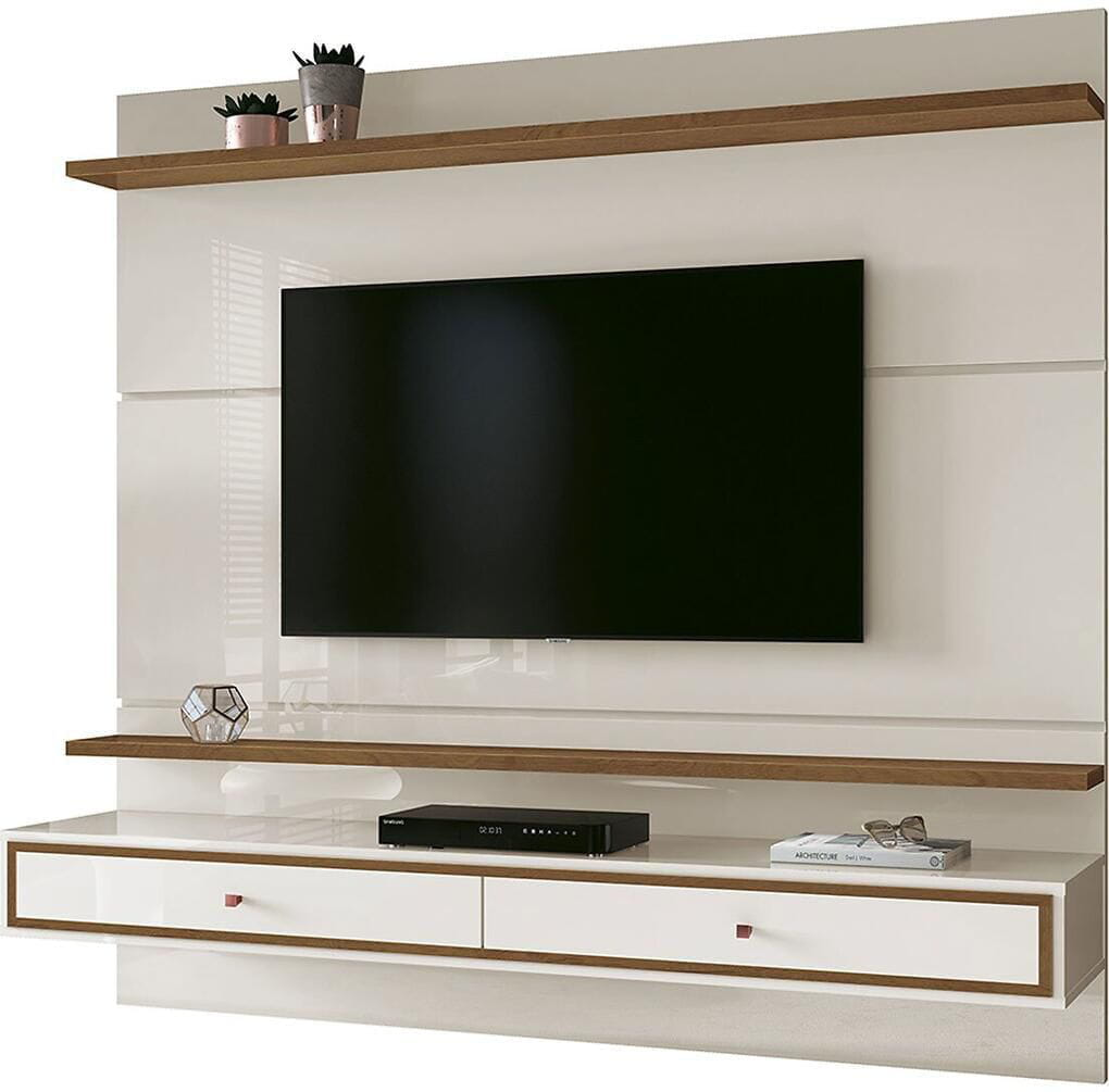 Painel Treviso 1.60 EDN Moveis - Cor Off White/Naturale