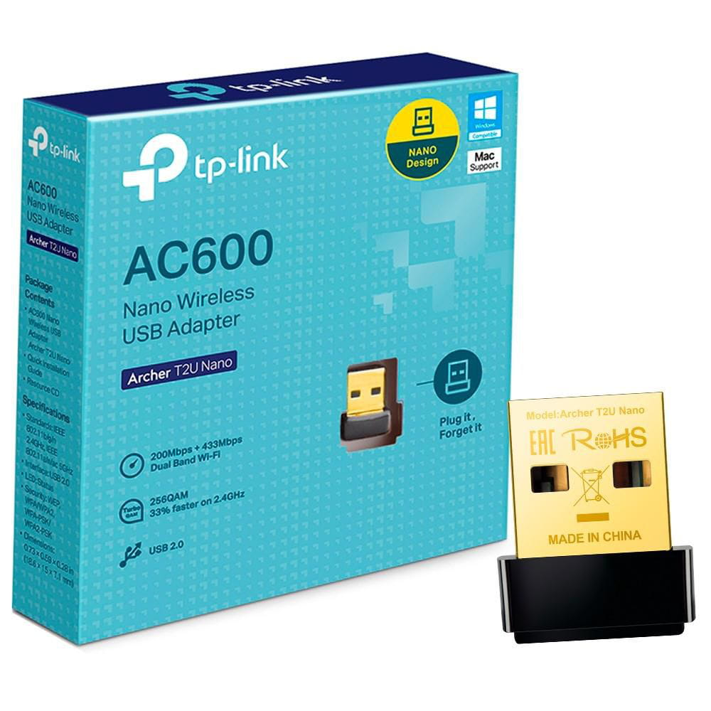 Adaptador Wireless USB TP-Link Archer T2U Nano AC600