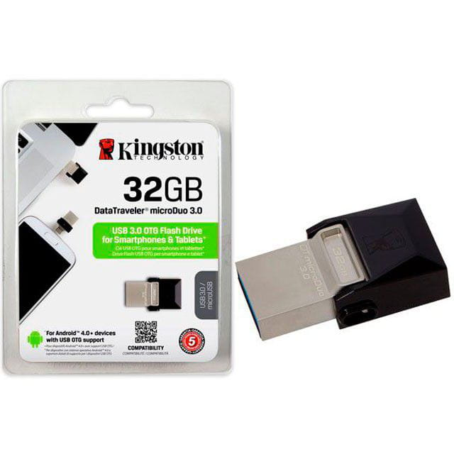 Pen Drive 32GB Kingston DT Micro Duo USB e Micro USB3.0 - DTDUO3/32GB