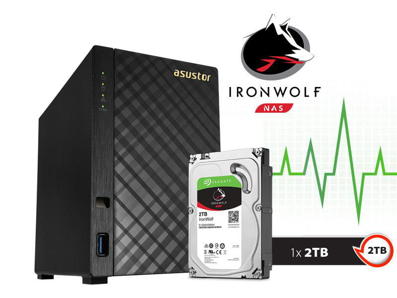 Storage NAS Asustor 2TB com HD  Seagate Ironwolf  - AS1002t2000 v2 marvell dual core 1,6 ghz 512mb ddr3 torre 2 tb